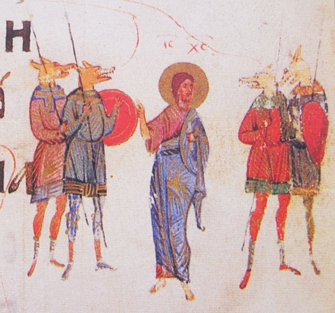 Cynocephali illustrated in the Kievan psalter, 1397