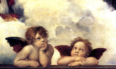 Rafael Sanzio. Madona Sistina. 1512-1513. Dresden. Detalhe.