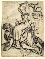 11. Aristóteles y Filis - Grabador anónimo (M. R.) - Alemania, siglo XV