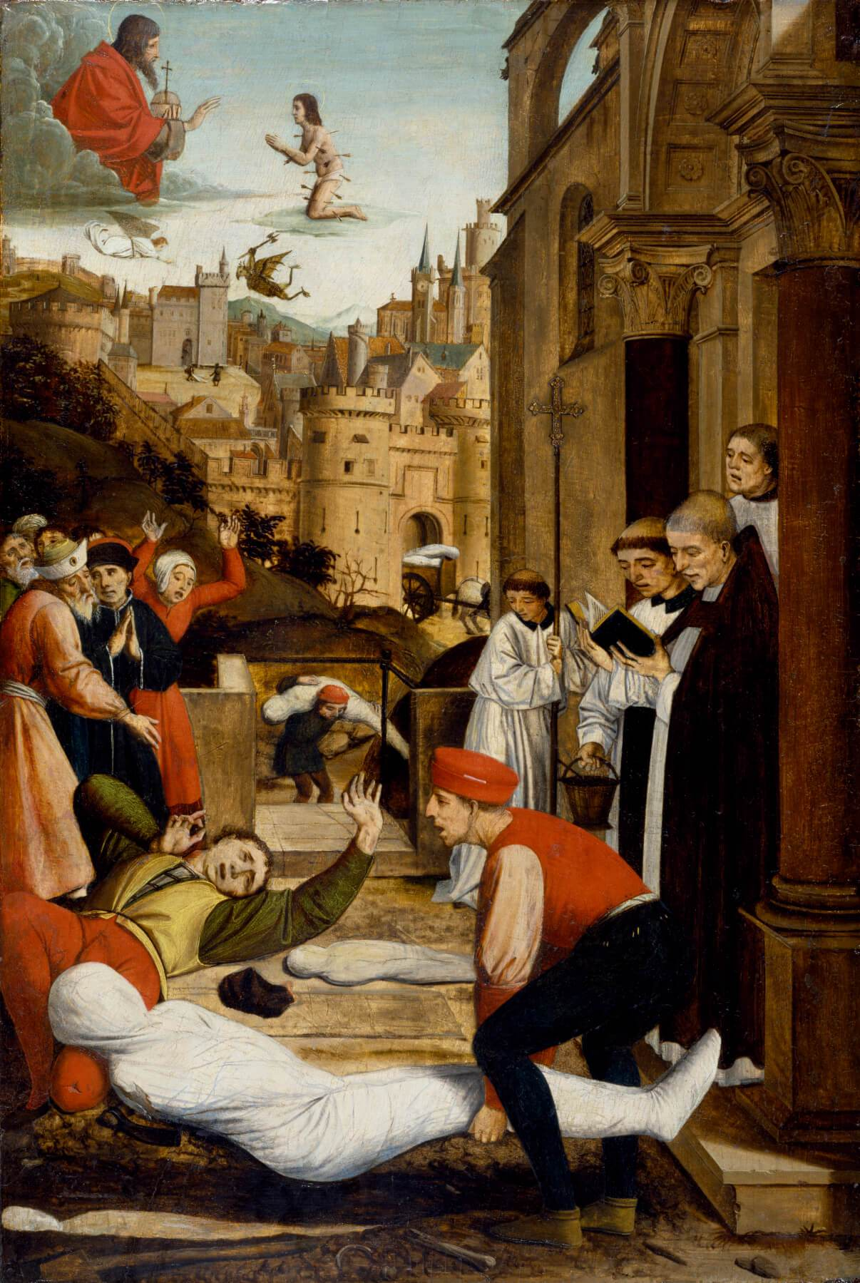 josse-liefrerinx-saint-sebastian-interceding-for-the-plague-stricken-1497-99