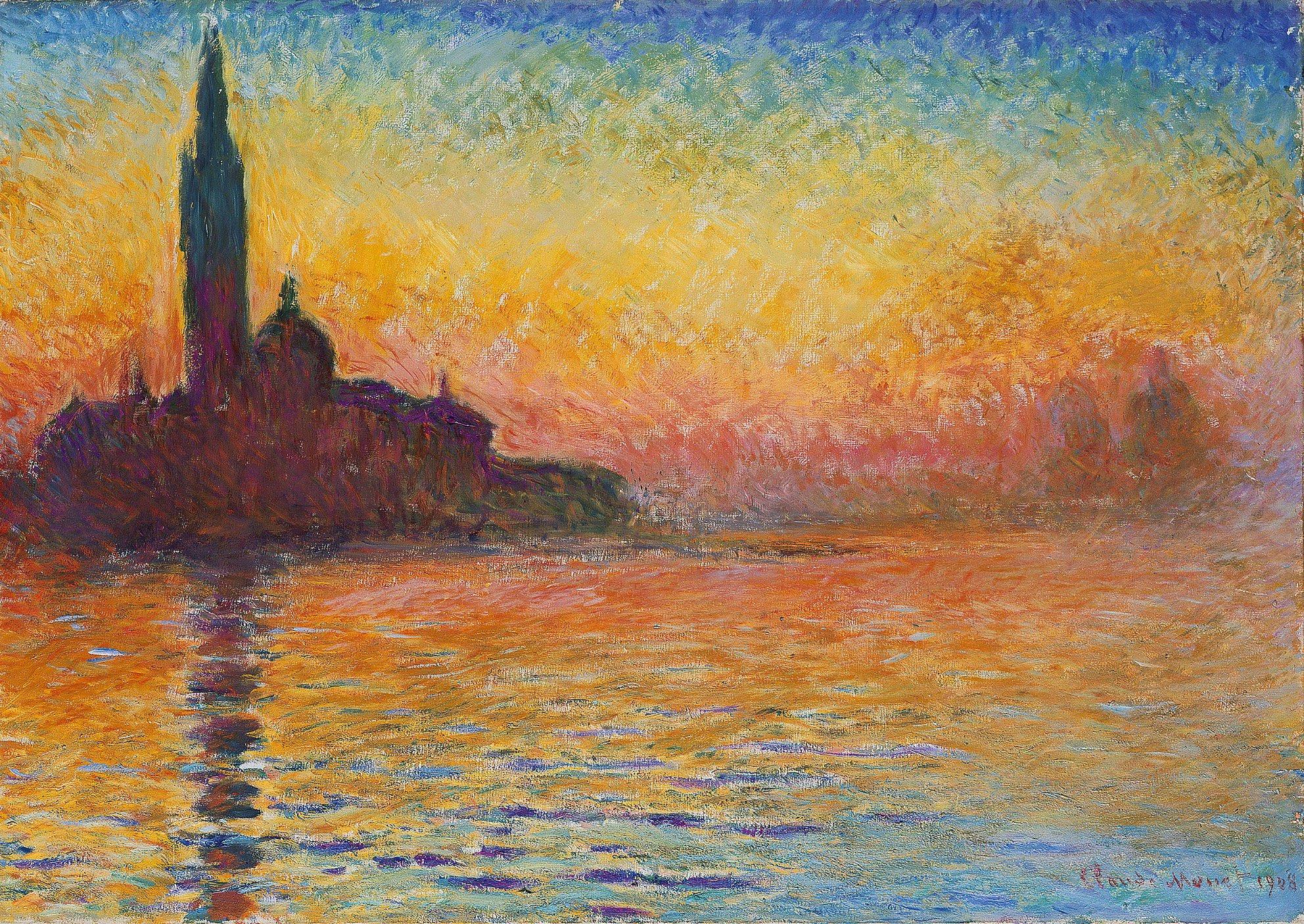 Resultado de imagem para Claude Monet, Crepúsculo em Saint-Georges-Majeur