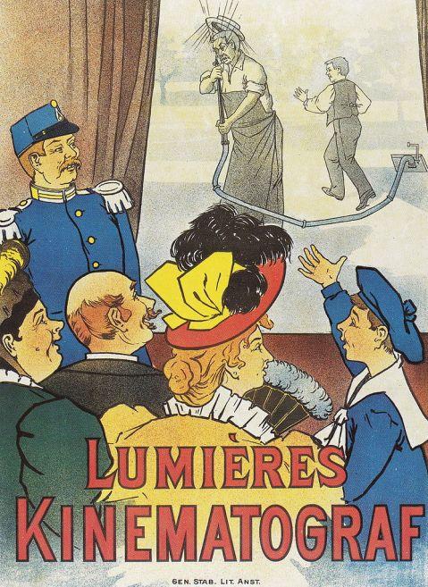 Cartaz do Cinematógrafo Lumières. Na Exposição de Estocolmo. Suécia. Por Carl August Olausson. 1897.
