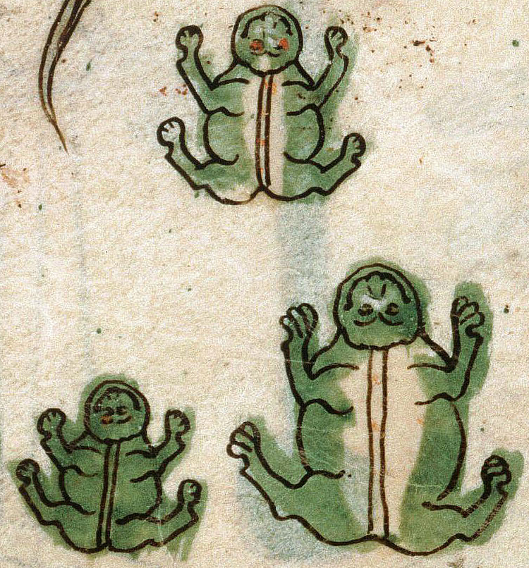 Plague of frogs, Pamplona Bible, Navarre 1197 (Amiens, Bibliothèque municipale, ms. 108, fol. 42v