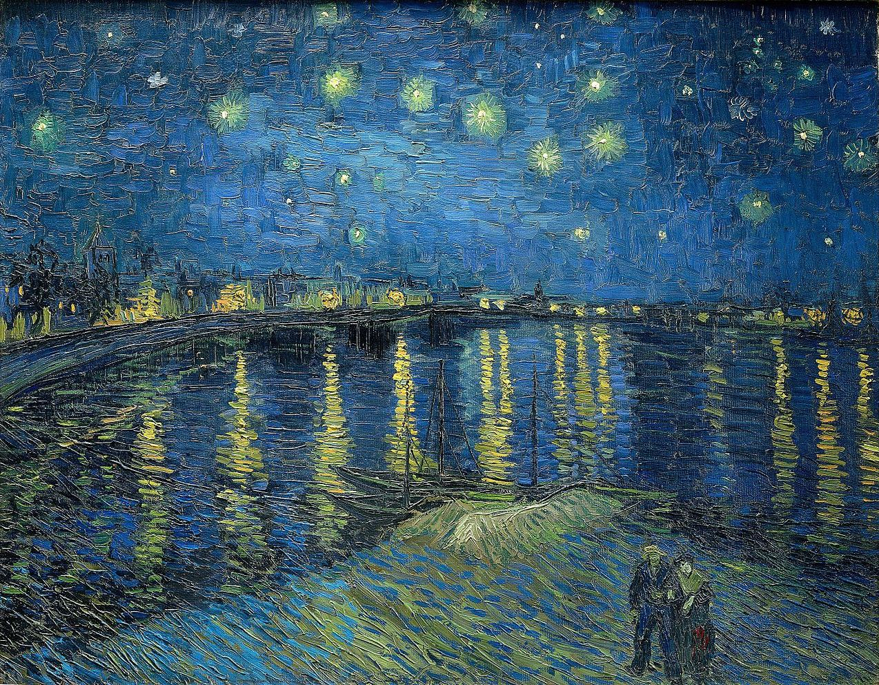 Vinvent Van Gogh. Noite estrelada sobre o Ródano. 1888.