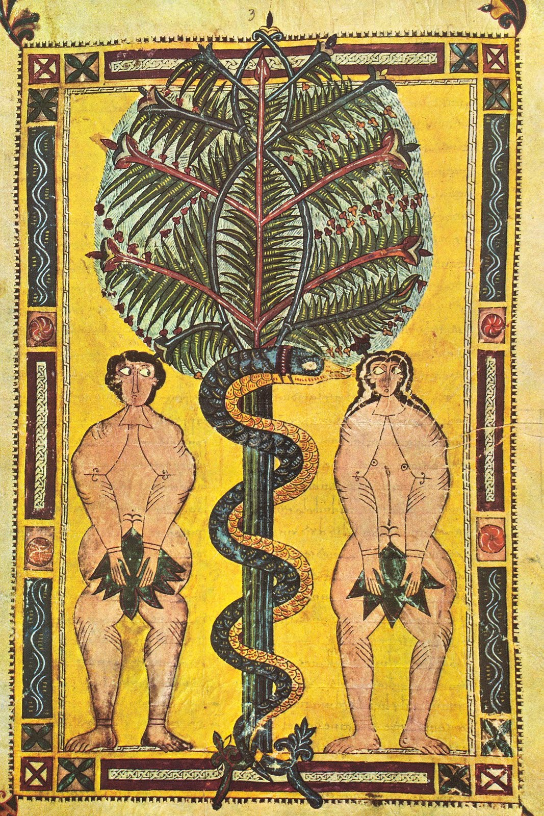 Adam, Eve and the serpent in the Tree of Knowledge of good and evil in the Garden of Eden, illumination of the Escorial Beatus, tenth century