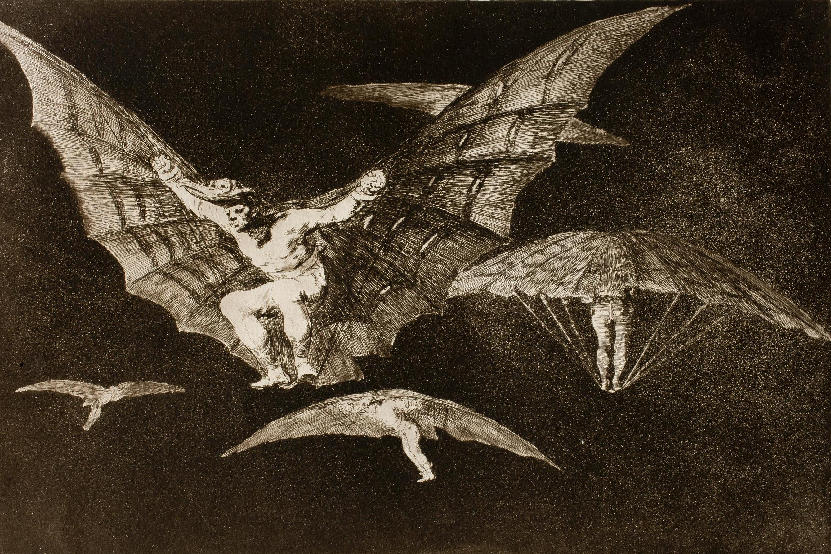 Goya. Disparate n.º 13. Modo de volar. 1815-1823.