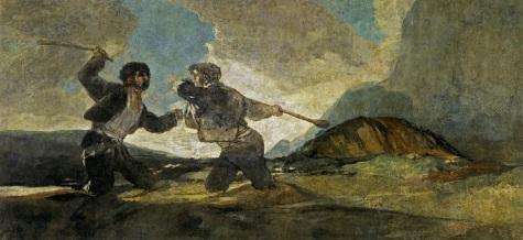 17. Goya. Luta com porretes. 1820-1823