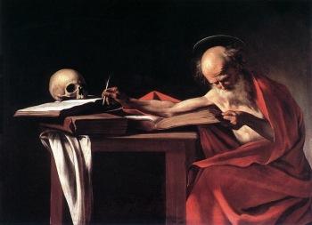 Caravaggio. São Jerónimo escrevendo, 1606