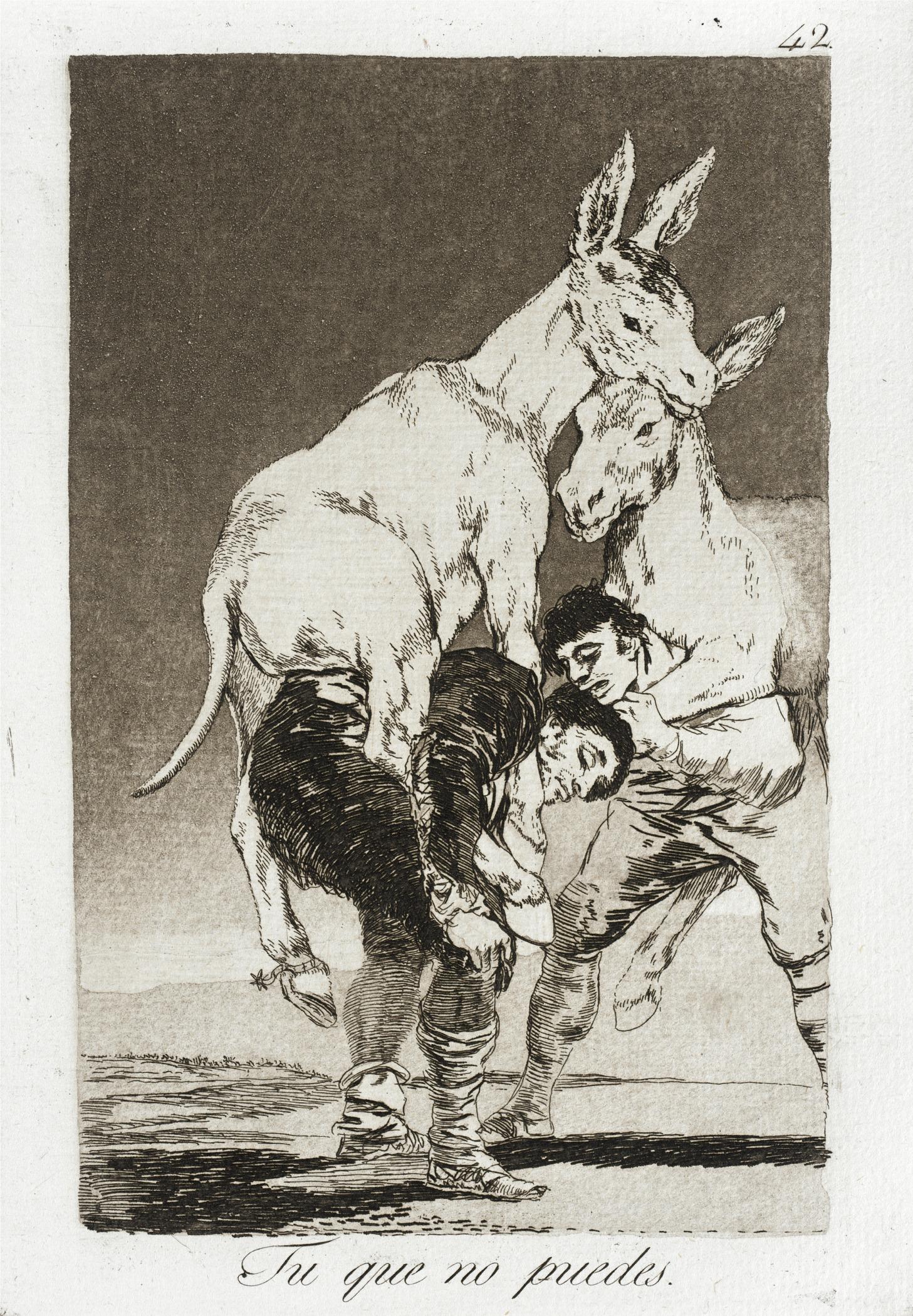 Fancisco de Goya. Tu que no puedes. 1799.