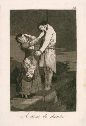 Goya. Caprichos 12. A caza de dientes.