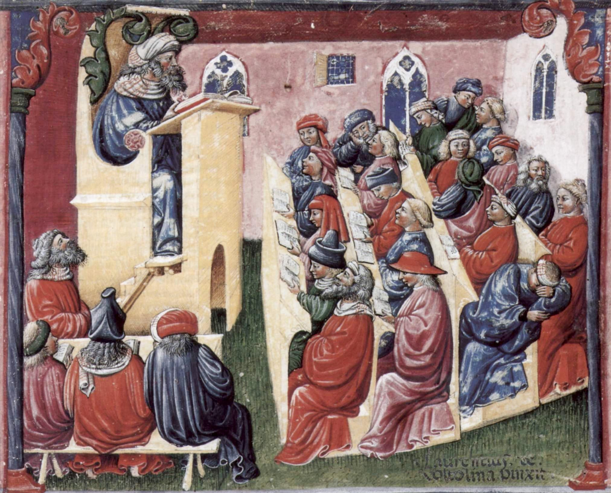 Laurentiu de Voltolina. A university class, Bologna (1350s).