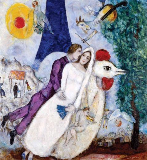 Marc Chagall. O casal da Torre Eiffel. 1938-1939.
