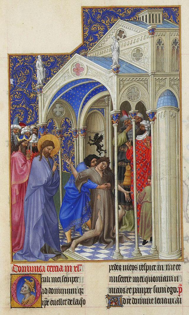 01. Cristo exorciza um jovem possuído por um demónio. Très Riches Heures du Duc de Berry, Séc. XV