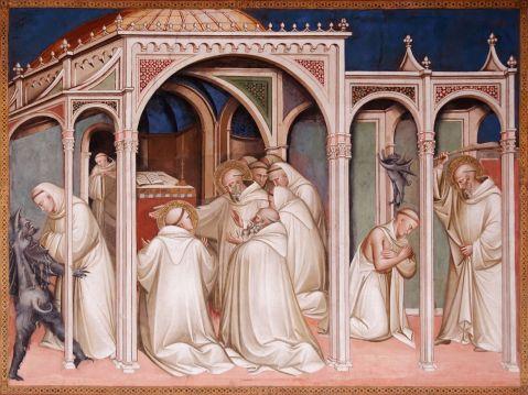 02 Spinello Aretino, São Bento liberta um monge possuído. Sacristia da Basílica San Miniato al Monte. Florença. 1387