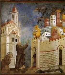 06. Giotto. Lenda de São Francisco. Exorcismo dos Demónios em Arezzo. Entre 1297 e 1299.