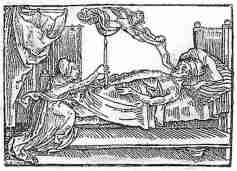 07. O anjo da morte, colhendo a alma, na forma de uma criança, de um moribundo.Reiter_s Mortilogus, Augsburg, 1508