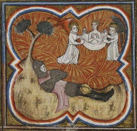 06. A alma de Rolando transportada por anjos. BNF Fr 10135, fol. 144r Grandes Chroniques de France . Séc. XIV.
