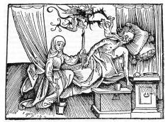 A lélek elhagyja a testet. 1508-ból származó német allegória a halálról