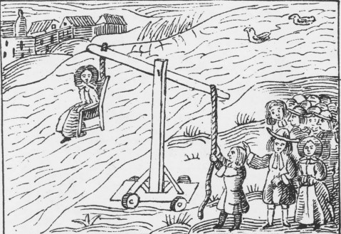 Ducking Stool. Tortura por imersão na água. Séc. XVII