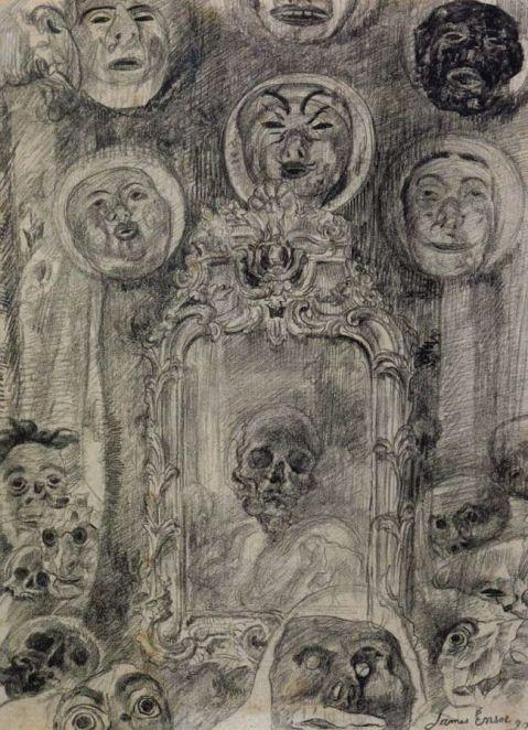 James Ensor. Espelho com esqueleto. 1890