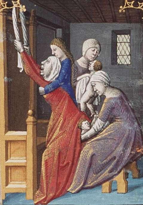 02. Nascimento de Esaú e Jacob. Iluminura por François Maitre. Circa 1475–1480