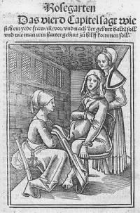 08. Jakob Rueff. Três parteiras cuidam de uma grávida. 1554