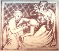07. Parto de  gémeos. Chururgia, por Gerard of Cremona. Séc. XII