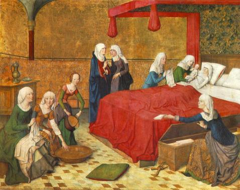 10. Master of the Aachen Altar. Nascimento da Virgem, 1485