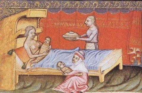 12. Anónimo. Cena de nascimento. Bíblia de Wenzel. Séc. XIV.