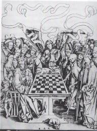 18. Morte joga xadrez com um rei. Atribuído a Israhel von Meckenem. 1445 a 1503