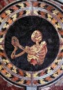 27. Esqueleto rezando. Detalhe do piso de mármore. Igreja de Santa Maria della Vittoria. Roma. 1600s