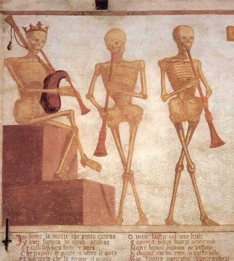 Figura 03. Início da dança macabra de Pínzolo. Músicos e primeiros versos