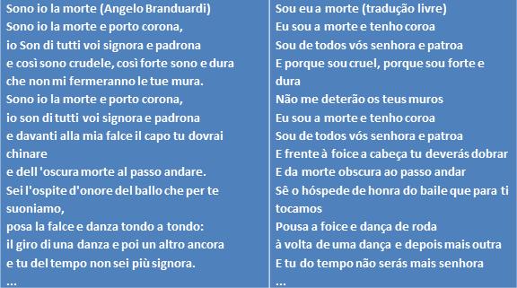 Tradução dos primeiros versos da canção Sono Io la morte, de Angelo Branduardi