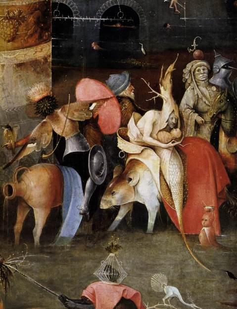 02. Hieronymus Bosch. A Tentação de Santo Antão (triptico). Pormenor do painel central.1505-1506.