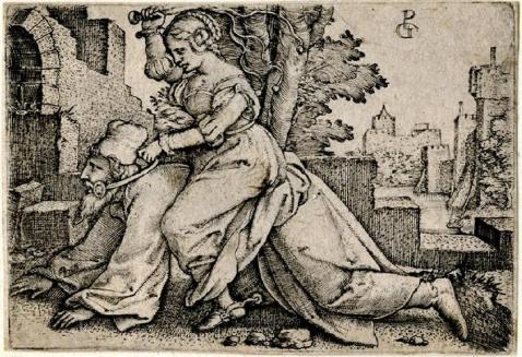 09. George Pencz. Fílis e Aristóteles. 1530. Para além das rédeas, Filis usa esporas.