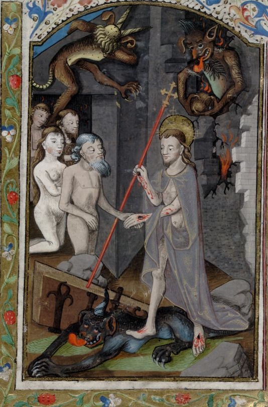 The Harrowing of Hell. Bibliothèque nationale de France, detail of f.370r. Augustine, De Civitate Dei. 1370-1380