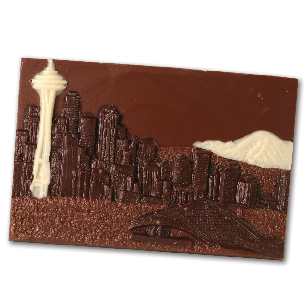 Seattle Skyline Chocolate Postcard. Dilletante Chocolates. Fundada em 1976