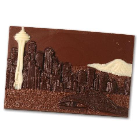 Seattle Skyline Chocolate Postcard. Dilletante Chocolates. Fundada em 1976