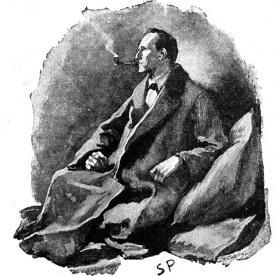 Um retrato de Sherlock Holmes na revista The Strand, em 1891, por Sidney Paget