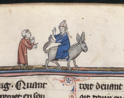 Alusão à Missa do Burro. Le livre de Lancelot du Lac. Autres romans arthuriens. Nord de France. 13e siècle.