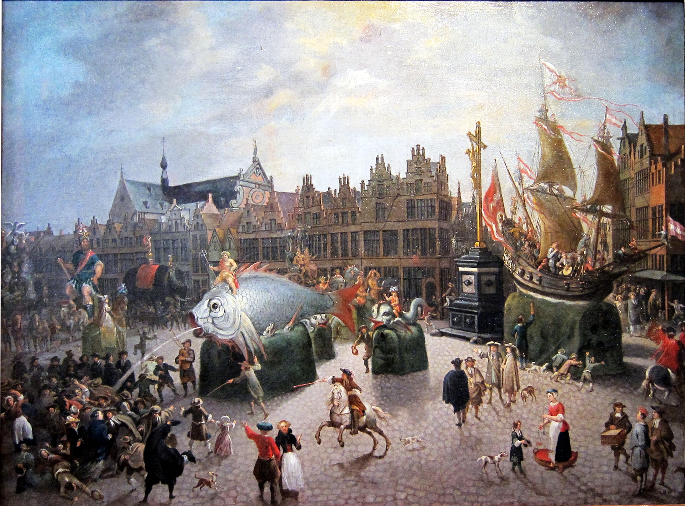 Erasmus de Bie. Carnival Floats on the Meir Square in Antwerp. 1670