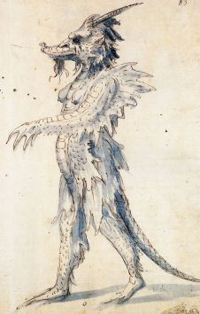 Guiseppe Arcimboldo – Costume design for a play at the Emperor Maximilian II's court theater. About 1570