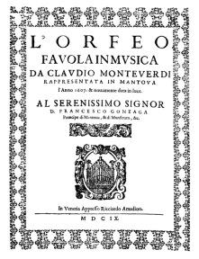 Claudio Monteverdi. L'Orfeo. Folheto. 1609.