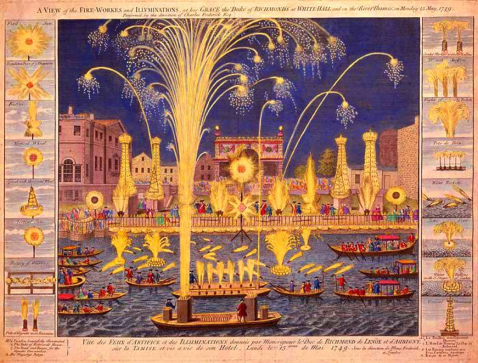 04. A View of the fire-workes and illuminations at his Grace the Duke of Richmond, at Whitehall, and on the River Thames, Monday 15 May, 1749