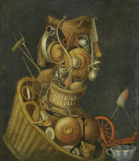 Circle of Giuseppe Arcimboldo. Housewife. An Anthropomorphic Still Life With Pots Pans Cutlery A Loom And Tools