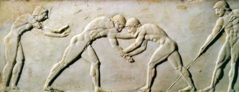 Stele relief depicting a wrestling competition between athletes, from Kerameikos necropolis, Athens, Grece, Circa 510 B.C.