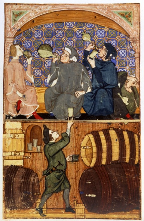 Tavern scene. Meb drinking, with a cellarer below. Late 14th century