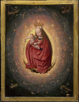 Fig 3. Geertgen tot Sint Jans. A glorificação da Virgem. Ca 1490. Reparar na forma oval como configuração da pintura.