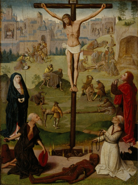 Geertgen tot Sint Jans. The Crucifixion with St Jerome and St Dominic and Scenes from the Passion. 1490