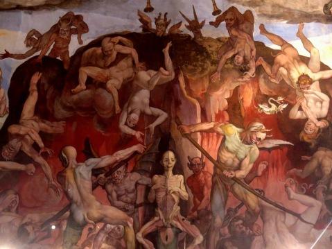 The Last Judgement, fresco, detail, Giorgio Vasari (1511-1574) Cupola di Santa Maria del Fiore, Il Giudizio Universale